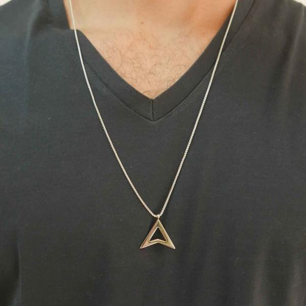 Men's Necklace - Men's Stainless Steel Necklace - Men's Geometric Necklace - Men's Pendant - Men's Jewelry - Boyfriend Gift - Husband Gift