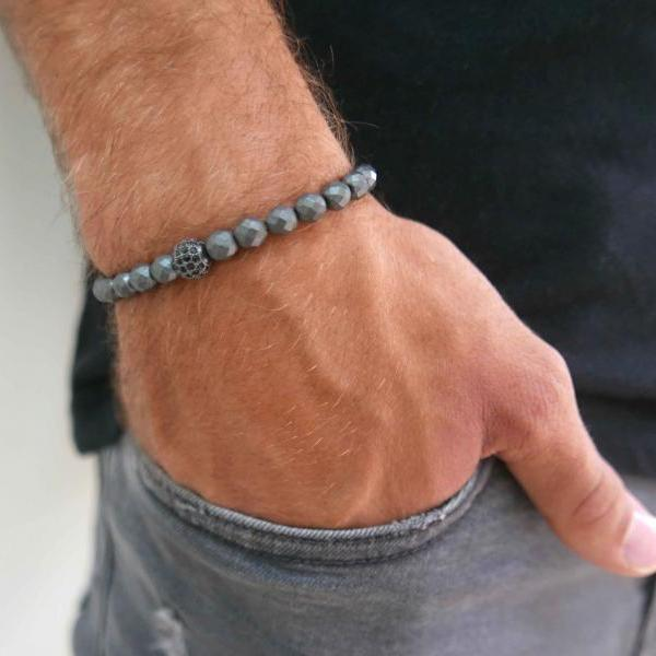 Men's Gemstone Bracelet - Men's Beaded Bracelet - Men's Strech Bracelet - Men's Bracelet - Men's Jewelry - Men's Gift - Husband Gift - Male