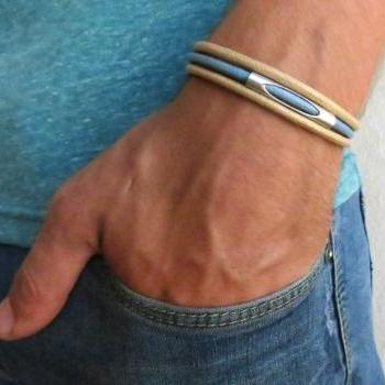 Men's Bracelet - Men's Tube Bracelet - Men's Beige And Blue Bracelet - Men's Jewelry - Bracelets For Men - Men's Tube Jewelry - Men's Gift