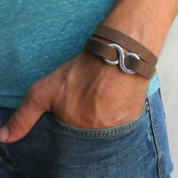 Men's Bracelet - Men's Infinity Bracelet - Men's Brown Bracelet - Men's Leather Bracelet - Men's Jewelry - Men's Love Bracelet
