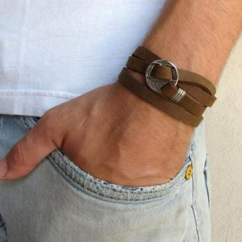 Men's Bracelet - Light Brown Leather Bracelet With Silver Circle Element - Men's Jewelry - Geometric Jewelry - Gift for Him