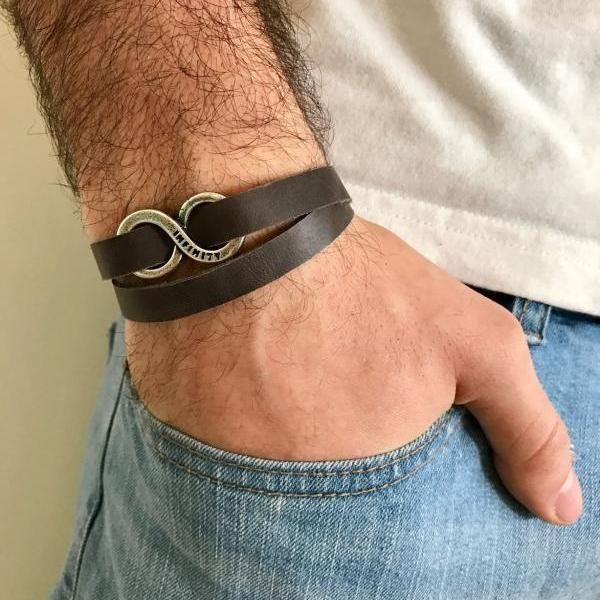 Men's Bracelet - Men's Infinity Bracelet - Men's Leather Bracelet - Men's Jewelry - Men's Gift - Boyfrienf Gift - Husband Gift - Gift for him