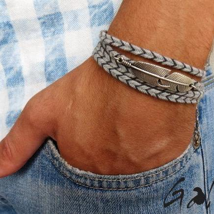 Men's Bracelet - Men's Feather Bracelet - Men's Jewelry - Men's Gift - Boyfrienf Gift - Husband Gift - Gift for him