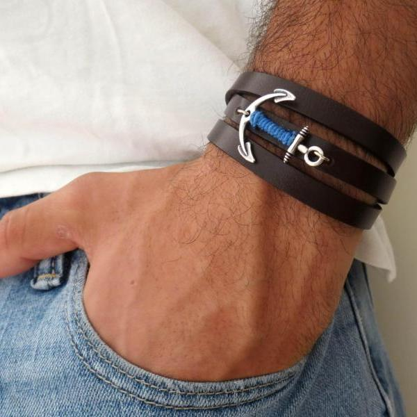 Men's Bracelet - Men's Anchor Bracelet - Men's Leather Bracelet - Men's Jewelry - Men's Gift - Boyfrienf Gift - Husband Gift - Gift for him