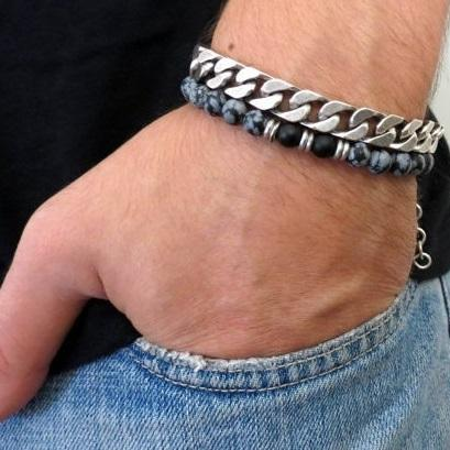Men's Bracelet Set - Set of 2 Bracelets For Men - Men's Beaded Bracelet - Men's Silver Bracelet - Men's Jewelry - Men's Gift