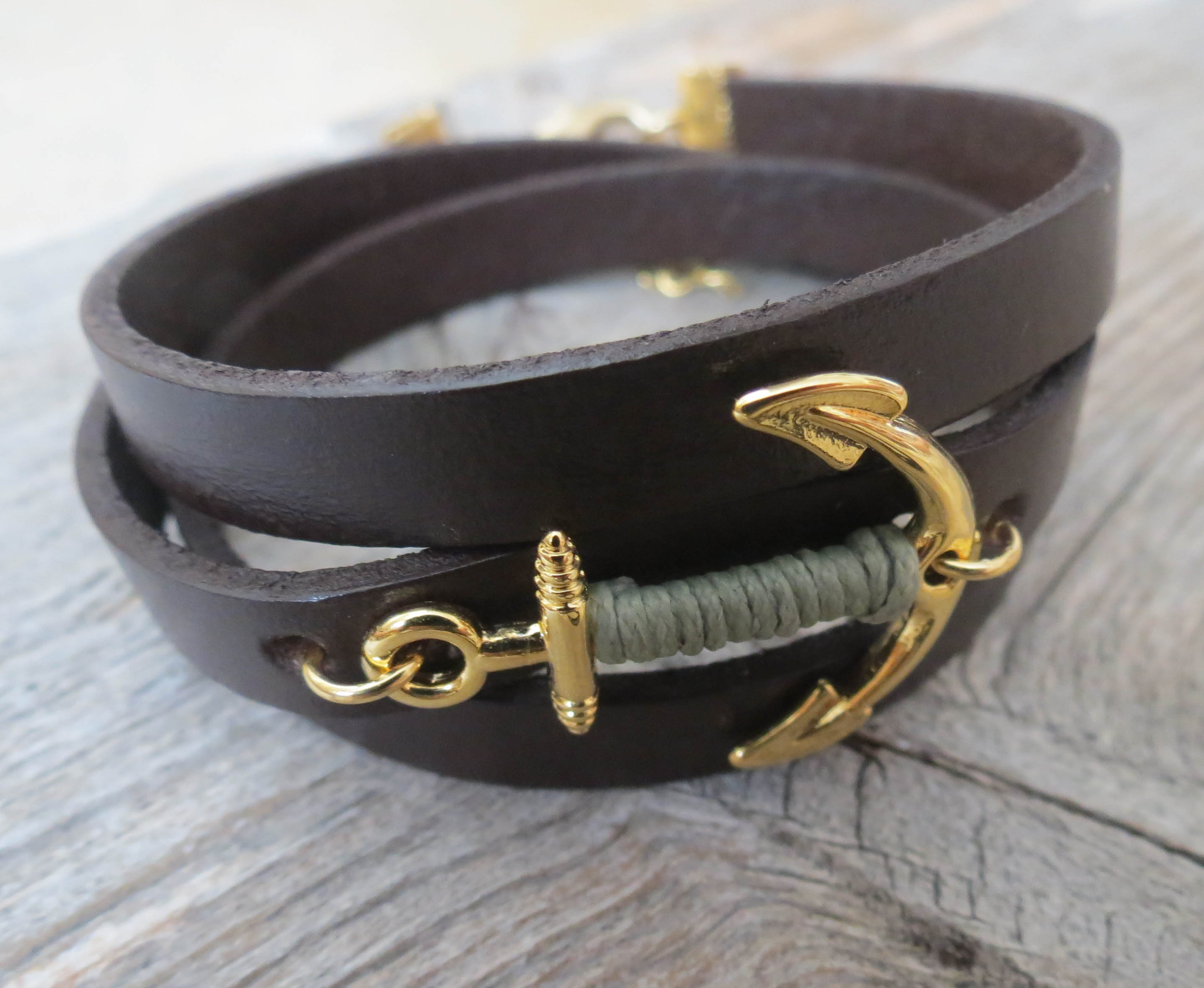 Men S Bracelet Anchor Leather Brown Mens Jewelry For Gift Him